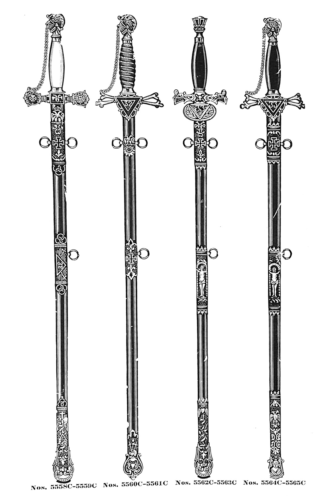 Consistory swords no. 5558C-5565C
