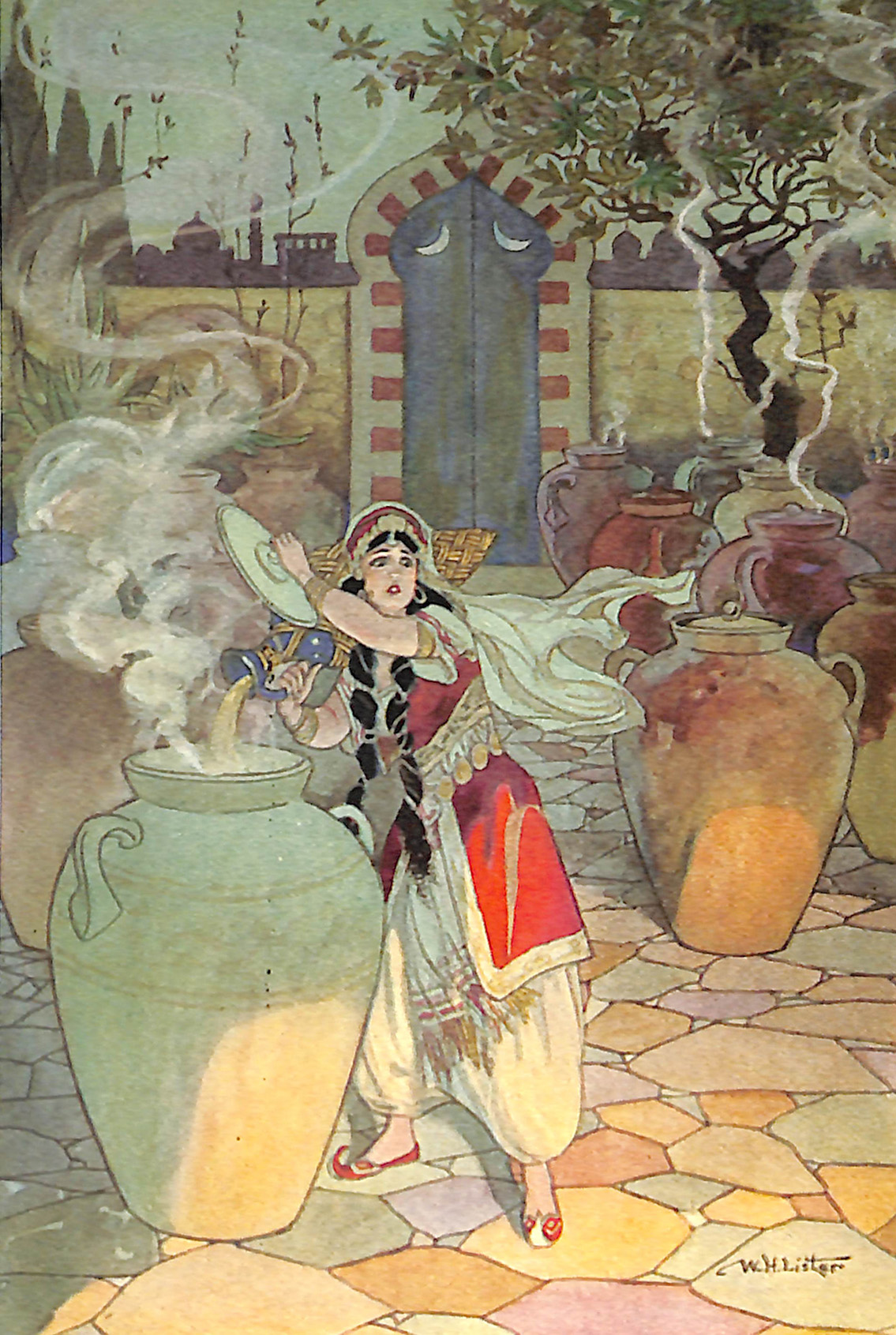 Morgiana pouring the boiling oil over the Thieves