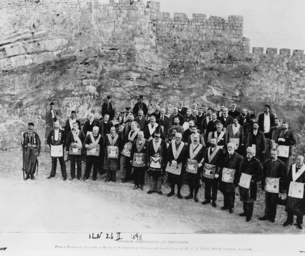[26th November 1898: English Freemasons, in their ceremonial attire, at the Quarries of Solomon during a visit to Jerusalem. Original Publication: Illustrated London News – pub. 1898 (Photo by Hulton Archive/Getty Images)]